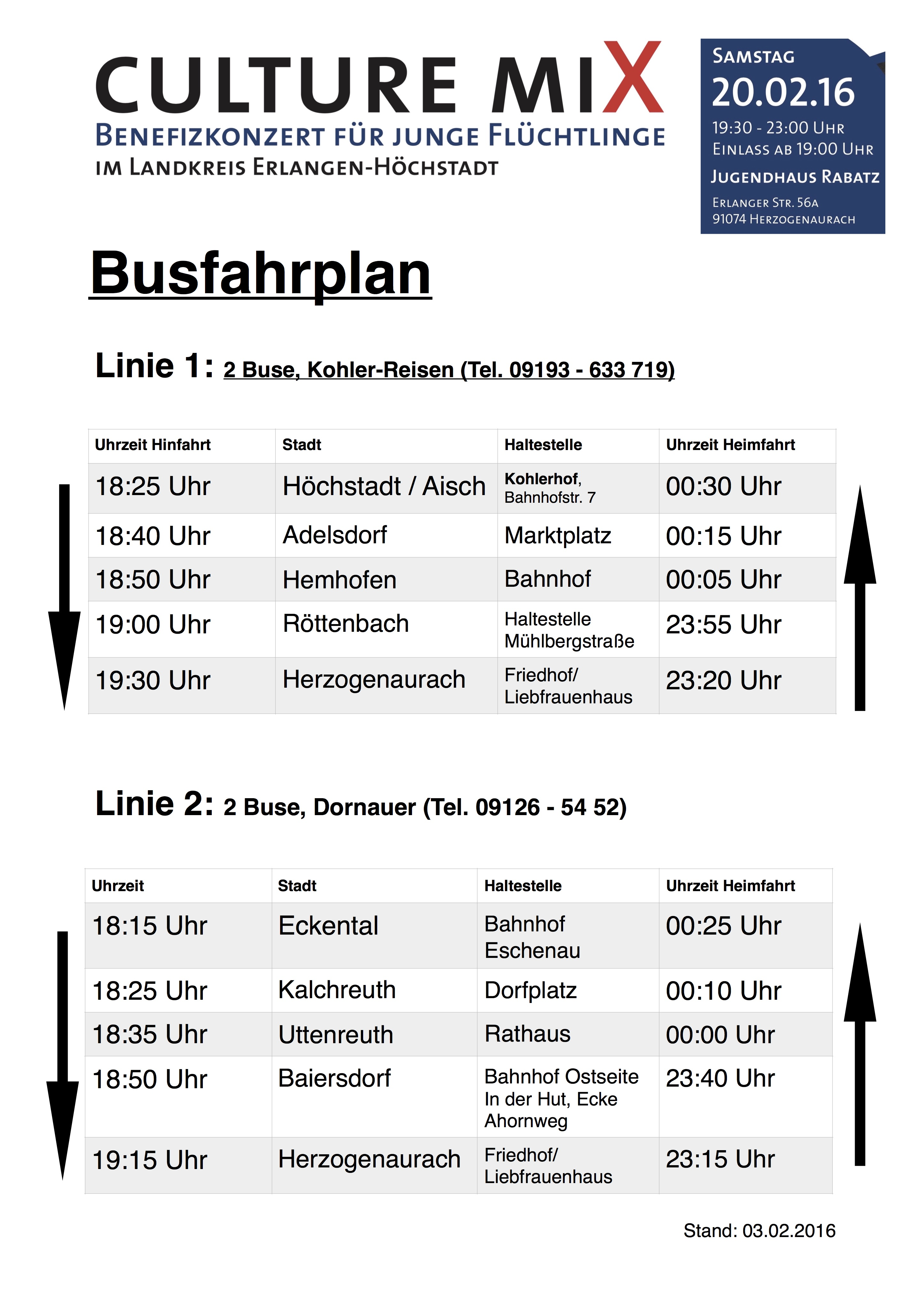Busfahrplan Culture Mix Stand 3.2.