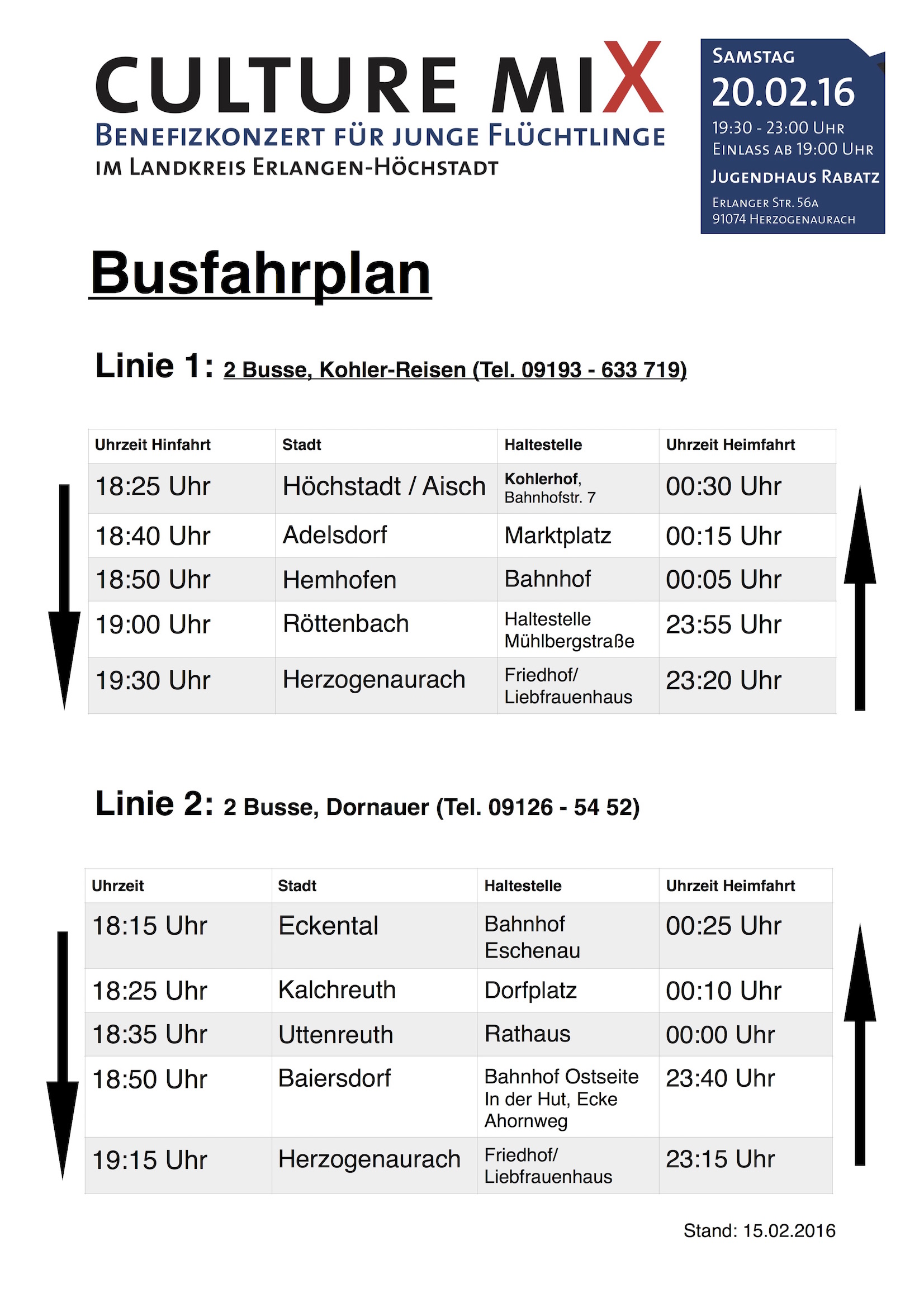 Busfahrplan Culture Mix