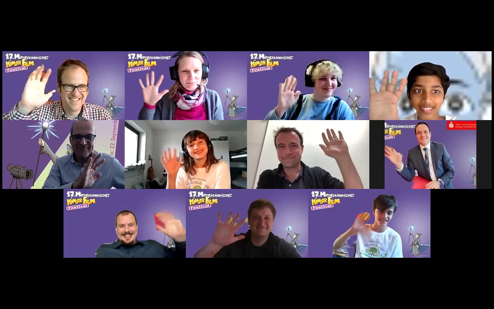 Teilnehmer:innen des digitalen Pressegesprächs anlässlich des 17. Mittelfränkischen Kinderfilmfestivals