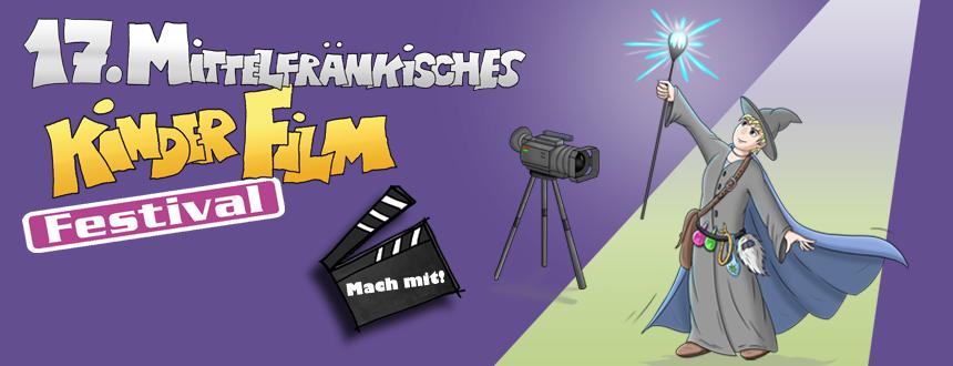 """Banner """"Mach mit!"""" beim 17. Mittelfränkischen Kinderfilmfestival. Zu sehen sind MiKi als Zauberer mit einem leuchtenden Zauberstab, eine Filmklappe und eine Filmkamera"""